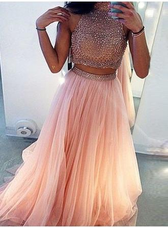 Tulle Sleeveless A-Line/Princess Prom Dresses Scoop Neck Beading Sweep Train