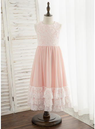 A-Line Tea-length Flower Girl Dress - Chiffon/Lace Sleeveless Scoop Neck
