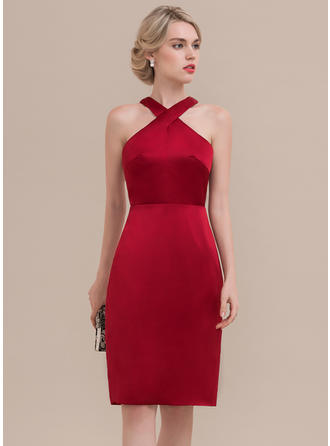 Sheath/Column Satin Homecoming Dresses Sleeveless Knee-Length