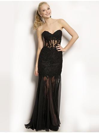 Trumpet/Mermaid Sweetheart Sweep Train Evening Dresses With Beading
