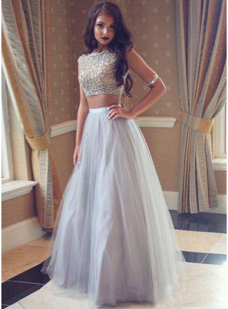 A-Line/Princess Scoop Neck Floor-Length Prom Dresses With Beading