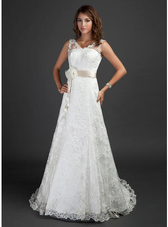 A-Line/Princess Court Train Wedding Dress With Sash Beading Flower(s) (002000187)