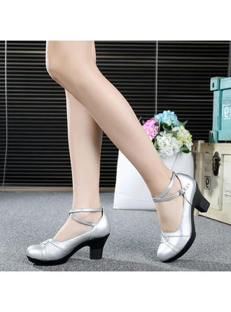 Ballroom Heels Pumps Real Leather With Ankle Strap Dance Shoes