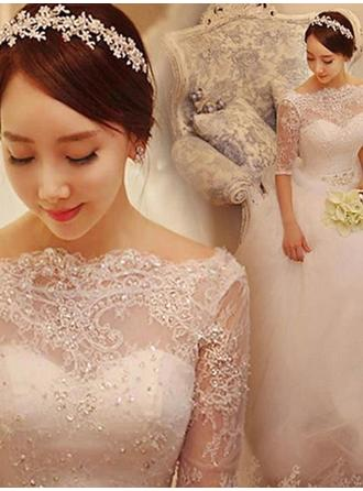 Court Train Half Sleeves Ball-Gown - Tulle Wedding Dresses