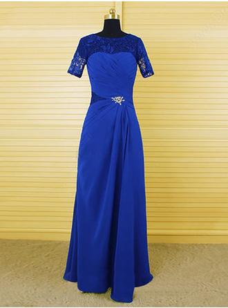 A-Line/Princess Scoop Neck Floor-Length Chiffon Lace Mother of the Bride Dress With Crystal Brooch