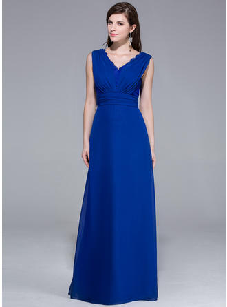 A-Line/Princess V-neck Chiffon Sleeveless Floor-Length Ruffle Lace Evening Dresses