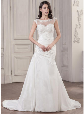 Magnificent Chapel Train Trumpet/Mermaid Wedding Dresses Scoop Taffeta Sleeveless