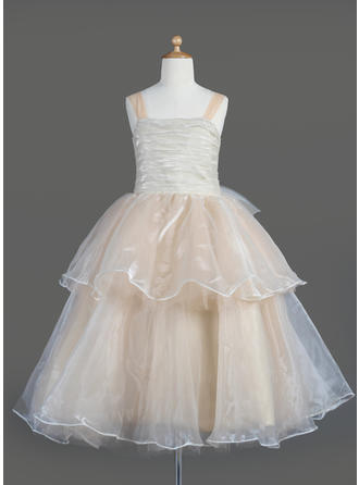 A-Line/Princess Square Neckline Tea-length With Ruffles/Bow(s) Organza Flower Girl Dress
