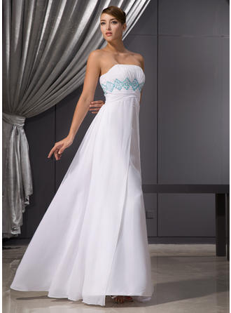 Empire Strapless Floor-Length Evening Dress With Ruffle Beading Sequins