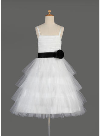A-Line/Princess Square Neckline Knee-length With Sash Tulle/Charmeuse Flower Girl Dress