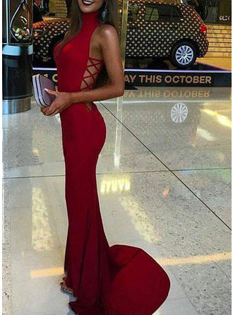 Jersey Sleeveless Trumpet/Mermaid Prom Dresses High Neck Sweep Train