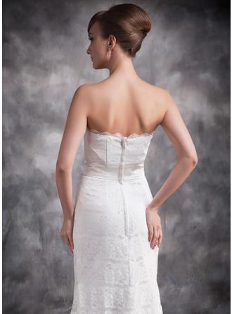 マーメイド レース ストラップレス 袖なし イブニングドレス (017016878)