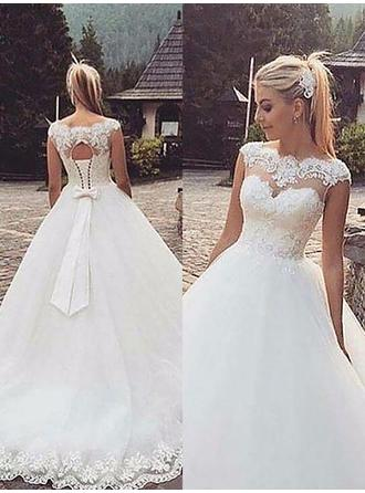 Ball-Gown Scoop Court Train Wedding Dress With Lace Beading Bow(s)