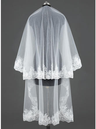 Chapel Bridal Veils Tulle One-tier Classic With Lace Applique Edge Wedding Veils