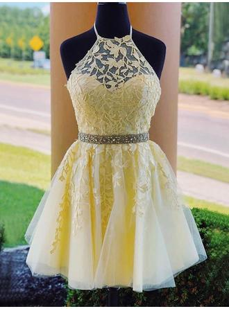 Beading Appliques Halter Tulle A-Line/Princess Homecoming Dresses (022219321)