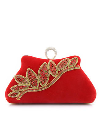 Clutches/Wristlets Wedding/Ceremony & Party/Casual & Shopping Suede Clip Closure Charming Clutches & Evening Bags