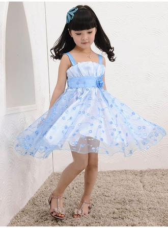 Square Neckline A-Line/Princess Flower Girl Dresses Tulle Flower(s) Sleeveless Knee-length