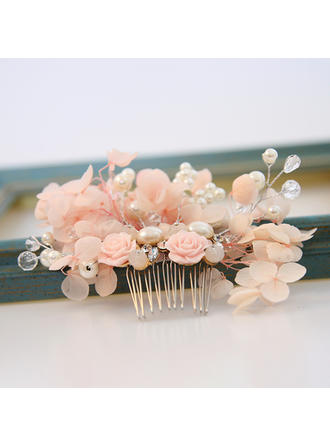 Ladies Exquisite Alloy/Imitation Pearls/Silk Flower Combs & Barrettes With Venetian Pearl (042121742)
