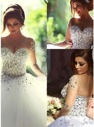 Ball-Gown Scoop Floor-Length Wedding Dress With Beading Sequins