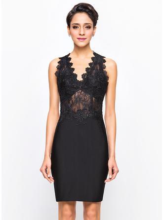 Sheath/Column V-neck Lace Jersey Cocktail Dresses