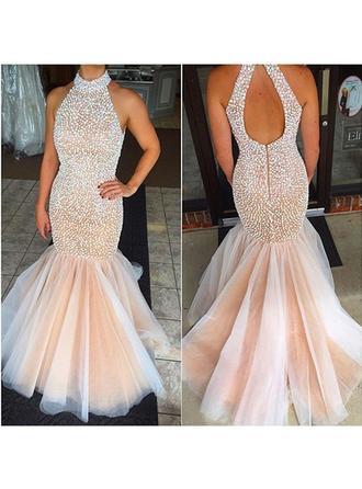 Trumpet/Mermaid Scoop Neck Floor-Length Prom Dresses