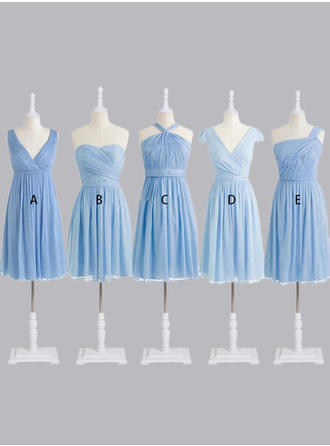 A-Line/Princess Sweetheart One-Shoulder V-neck Knee-Length Chiffon Bridesmaid Dresses With Ruffle