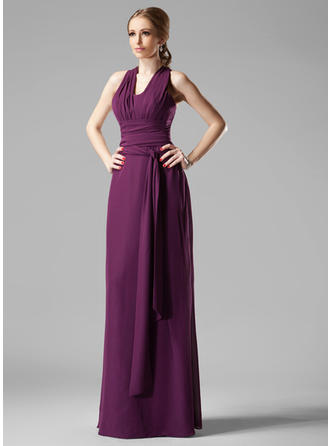 Chiffon Sleeveless Sheath/Column Bridesmaid Dresses V-neck Ruffle Floor-Length