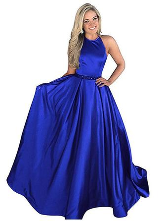 Sexy Satin Prom Dresses A-Line/Princess Sweep Train Halter Sleeveless