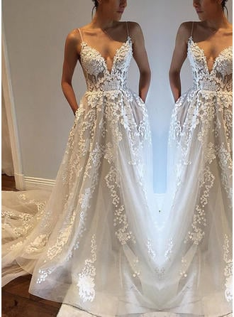 Modern Court Train A-Line/Princess Wedding Dresses Deep V Neck Tulle Sleeveless