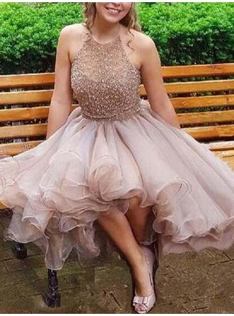 A-Line/Princess Beading Chiffon Homecoming Dresses Halter Sleeveless Short/Mini