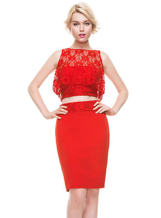 Sheath/Column Beading Sequins Satin Lace Homecoming Dresses Strapless Sleeveless Knee-Length