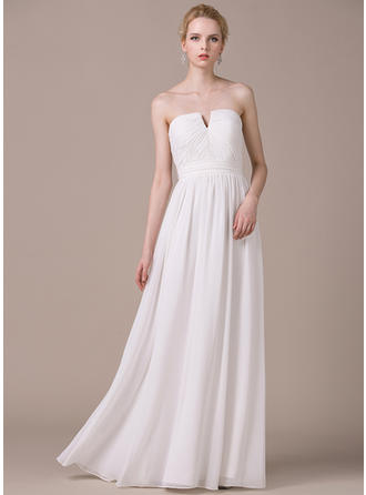 A-Line/Princess Strapless Floor-Length Chiffon Wedding Dress With Ruffle Bow(s)