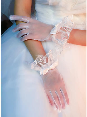 Lace Ladies' Gloves Wrist Length Bridal Gloves Fingertips Gloves