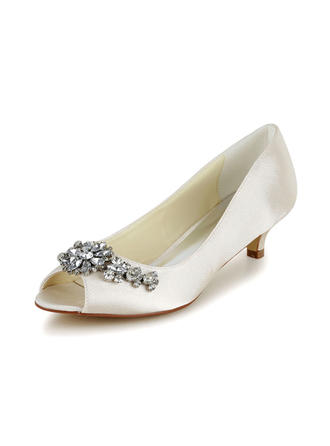 Women's Peep Toe Sandals Cone Heel Satin With Rhinestone Wedding Shoes