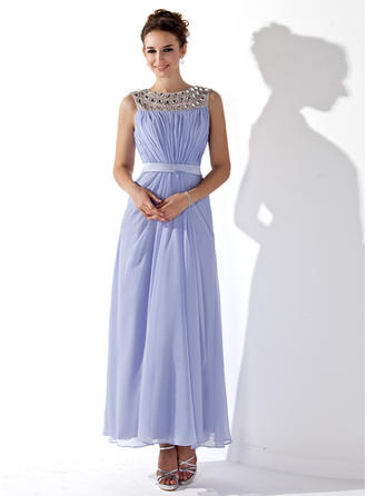 A-Line/Princess Chiffon Prom Dresses Ruffle Beading Scoop Neck Sleeveless Ankle-Length