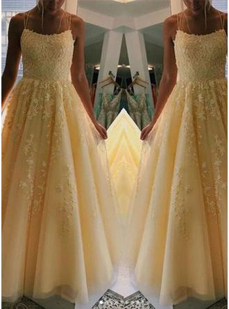 Sexy Square Neckline Sleeveless Prom Dresses Floor-Length Tulle A-Line/Princess