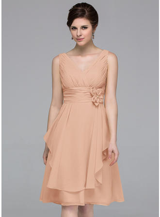 Chiffon Sleeveless A-Line/Princess Bridesmaid Dresses V-neck Flower(s) Cascading Ruffles Knee-Length