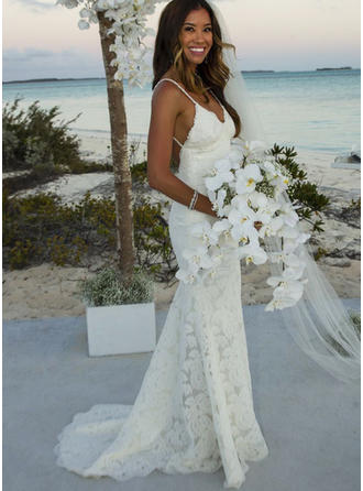 Lace Sweep Train With Spaghetti Straps Wedding Dresses