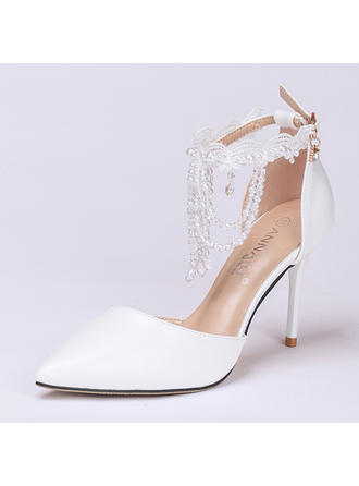 Women's Closed Toe Pumps Stiletto Heel Leatherette With Buckle Imitation Pearl Tassel Crystal Wedding Shoes