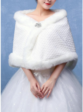 Shawl Wedding Faux Fur Ivory Red Wraps