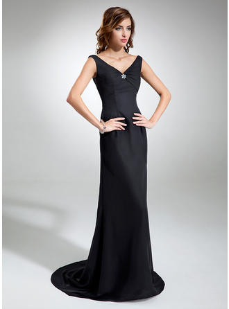 Sheath/Column V-neck Sweep Train Evening Dresses With Ruffle Beading