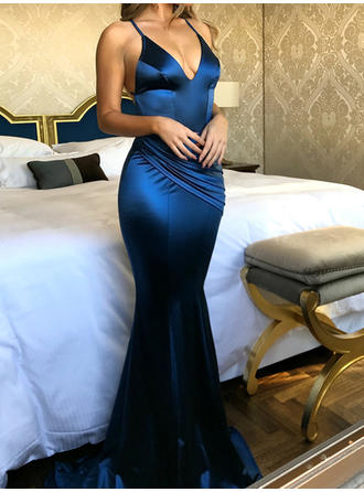 Spaghetti Straps V-neck General Plus Charmeuse Trumpet/Mermaid Prom Dresses
