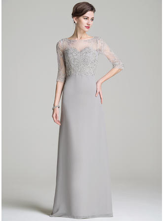 A-Line/Princess Chiffon 1/2 Sleeves Scoop Neck Floor-Length Zipper Up Mother of the Bride Dresses