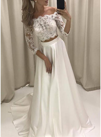 Sweetheart Court Train A-Line/Princess Wedding Dresses Off-The-Shoulder Satin 3/4 Length Sleeves