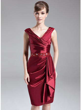 Sheath/Column V-neck Knee-Length Mother of the Bride Dresses With Beading Sequins Cascading Ruffles