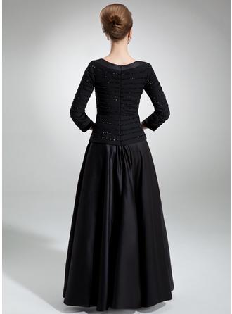 A-Linie/Princess-Linie Rechteckiger Ausschnitt Chiffon Satin 3/4 Ärmel Bodenlang Rüschen Perlstickerei Pailletten Kleider für die Brautmutter (008006314)