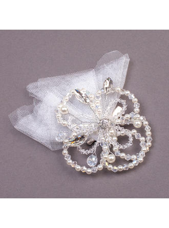 "Combs & Barrettes Wedding/Special Occasion/Party Rhinestone/Imitation Pearls/Net Yarn 7.09""(Approx.18cm) 1.18""(Approx.3cm) Headpieces"