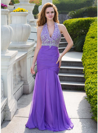 Trumpet/Mermaid Chiffon Prom Dresses Ruffle Beading Halter Sleeveless Floor-Length