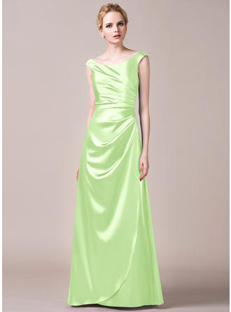 Floor-Length A-Line/Princess Sleeveless Charmeuse Bridesmaid Dresses