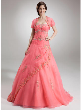 Ball-Gown Sweetheart Floor-Length Organza Prom Dress With Beading Appliques Lace Sequins